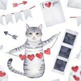 Den sömlösa modellen med det gulliga gråa kattungeteckenet och 'jag älskar dig 'symboler vektor illustrationer