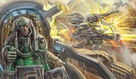 Den sårade piloten i den brutna kabinen av stridmedlet sci Arkivfoto