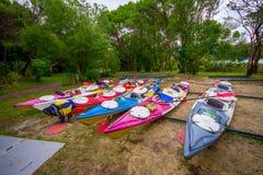 DEN SÖDRA ÖN, NYA SJÄLLAND MAY 22, 2017: Kayaking i Abel Tasman National parkera, lokaliserat i den södra ön i Nya Zeeland Royaltyfri Bild