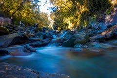 DEN SÖDRA ÖN, NYA SJÄLLAND MAY 23, 2017: Lång exponeringsbild av en vattenfall i frodig tempererad Rainforest på det västra Royaltyfria Foton