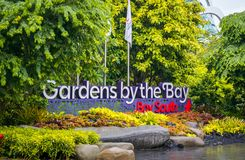 Den södra porten av trädgården vid fjärdsöderna, Singapore arkivbild