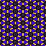 Den sömlösa abstrakta symmetriska sexhörniga strukturen av svartprickar förband med gula linjer på den blåa bakgrunden Royaltyfri Illustrationer