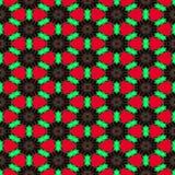 Den sömlösa abstrakta symmetriska sexhörniga strukturen av svartprickar förband med röda linjer på den röda bakgrunden Vektor Illustrationer