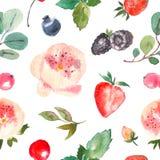 Den sömlösa blom- modellen för textiler som förpackar, tapetserar, räkningar Blom- bakgrundshand för vattenfärg som dras med bär stock illustrationer