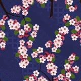 Den sömlösa blom- modellen med körsbärsröda sakura blommar på blå japansk bakgrund Arkivfoto
