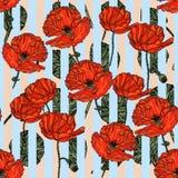 Den sömlösa blom- modellen med vallmo blommar, sidaans-band Royaltyfri Illustrationer