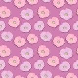 Den sömlösa blommamodellen med rosa och lila lösa rosor blomstrar, retro stil för tappning med skugga som isoleras på rosa färger vektor illustrationer