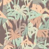 Den sömlösa exotiska modellen med tropiskt gömma i handflatan och geometrisk bakgrund Arkivbild
