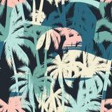 Den sömlösa exotiska modellen med tropiskt gömma i handflatan och konstnärlig bakgrund Royaltyfria Bilder