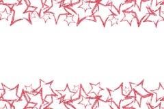 Den sömlösa gränsen med rött blänker stjärnan sequins Guld- sken pulver blänka Fotografering för Bildbyråer