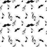 Den sömlösa hipsterillustrationen ställde in med mustaschmusikanmärkningen och bugar den rå modellen för borstetexturbakgrund i v stock illustrationer