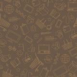 Den sömlösa illustrationen på temat av den online-shopping och internet shoppar, beigea kontursymboler på brun bakgrund Royaltyfri Foto