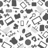 Den sömlösa illustrationen på temat av den online-shopping och internet shoppar, mörka kontursymboler på vit bakgrund Royaltyfri Bild