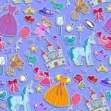 Den sömlösa illustrationen på temat av hobbyer behandla som ett barn flickor och leksaker, klistermärkesymboler på en purpurfärga Fotografering för Bildbyråer