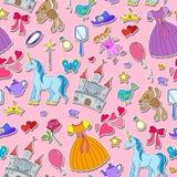 Den sömlösa illustrationen på temat av hobbyer behandla som ett barn flickor och leksaker, klistermärkesymboler på rosa bakgrund Arkivfoto