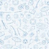 Den sömlösa illustrationen på temat av kolonin och semestrar, enkla kontursymboler, blått drar upp konturerna av symboler på den  vektor illustrationer