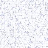 Den sömlösa illustrationen på temat av tvagningen och renlighet, olik kläder, blått drar upp konturerna av symboler på den sh ren stock illustrationer