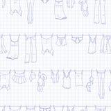 Den sömlösa illustrationen på temat av tvagningen och renlighet, olik kläder, blått drar upp konturerna av symboler på den sh ren royaltyfri illustrationer