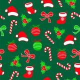 Den sömlösa julmodellen med lolipopgodisen, jul klumpa ihop sig, det röda Santa Claus sockor och hatten, pilbågebandet och järnek Vektor Illustrationer
