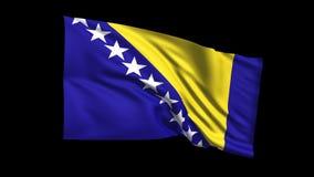 Den sömlösa kretsa Bosnienflaggan som vinkar i vinden, den alfabetiska kanalen, är inklusive vektor illustrationer