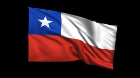 Den sömlösa kretsa Chile flaggan som vinkar i vinden, den alfabetiska kanalen, är inklusive vektor illustrationer