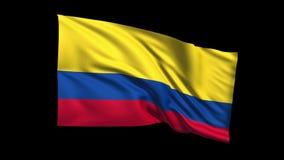 Den sömlösa kretsa Colombia flaggan som vinkar i vinden, den alfabetiska kanalen, är inklusive vektor illustrationer