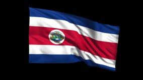 Den sömlösa kretsa Costa Rica flaggan som vinkar i vinden, den alfabetiska kanalen, är inklusive vektor illustrationer