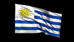 Den sömlösa kretsa orientaliska republiken av den Uruguay flaggan som vinkar i vind för t Republiche, den alfabetiska kanalen, är lager videofilmer