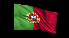 Den sömlösa kretsa portugisiska republikflaggan som vinkar i vind för t Republiche, den alfabetiska kanalen, är inklusive stock video