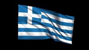Den sömlösa kretsa Republiken Grekland flaggan som vinkar i vinden, den alfabetiska kanalen, är inklusive vektor illustrationer
