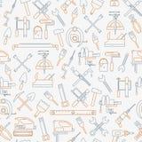 Den sömlösa linjen modell med funktionsdugliga hjälpmedel för konstruktion, byggnad och hemmet reparerar symboler också vektor fö vektor illustrationer