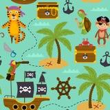 Den sömlösa modellöversikten av skatter med piratkopierar djur vektor illustrationer