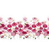 Den sömlösa modellborsten med örter, tusenskönan, gerberaen och annan blommar Ändlös horisontaltextur Royaltyfria Bilder