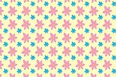 Den sömlösa modellen av abstrakta rosa färger och blått blommar Arkivfoto