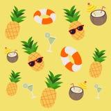 Den sömlösa modellen av cirkeln för ananassodavattenliv i sommartemat royaltyfri illustrationer