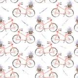 Den sömlösa modellen av den röda cykeln för vattenfärgen med korgen av lavendel blommar Royaltyfria Bilder