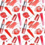 Den sömlösa modellen av en röd läppstift, kant skrivar ut och plaskar stock illustrationer