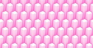 Den sömlösa modellen av fyrkantiga objekt som 3d bildar tornet, formar i rosa färger och vit (illustrationen 3d) Royaltyfri Foto