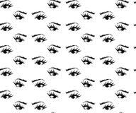 Den sömlösa modellen av hand-dragen kvinna s synar med formade ögonbryn royaltyfri illustrationer