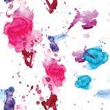 Den sömlösa modellen av den rosa färg-, blått- och lilavattenfärgen bläckar ner för bakgrund Arkivfoto