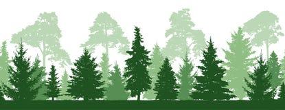 Den sömlösa modellen av skoggranar, sörjer träd, kontur vektor illustrationer