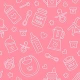Den sömlösa modellen behandla som ett barn mat, pastellfärgad färg, vektorillustration Tunn linje symboler för begynnande matning stock illustrationer