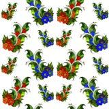 Den sömlösa modellen med abstrakt begrepp förgrena sig med blommor vektor Royaltyfri Bild