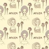 Den sömlösa modellen med afrikanska kvinnor i halsduk, gömma i handflatan och inskrift`-africa `, vektor illustrationer