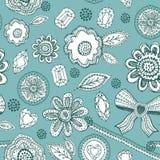 Den sömlösa modellen med blått snör åt, diamanter, blommor, sidor vektor Royaltyfri Foto