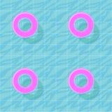 Den sömlösa modellen med blått vatten i simbassäng och rosa färger simmar cirklar Färgrik sommartapet för vektor vektor illustrationer