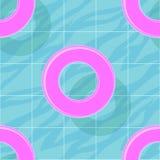 Den sömlösa modellen med blått vatten i simbassäng och rosa färger simmar cirklar Färgrik sommartapet för vektor stock illustrationer