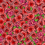 Den sömlösa modellen med blad och röda rosor i tappning utformar Vect arkivfoton