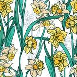 Den sömlösa modellen med den härliga pingstliljan blommar i mosaikstil Arkivbilder