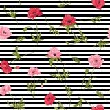 Den sömlösa modellen med den rosa och röda vallmo blommar i botanisk st Royaltyfria Bilder
